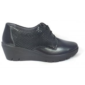 Ginny Black Patent Lace-Up Wedge Shoes