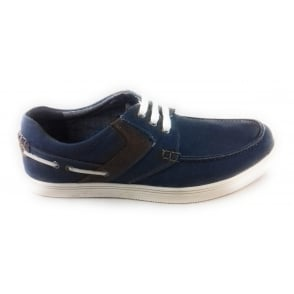 Gladstone Denim Blue Canvas Lace-Up Shoe