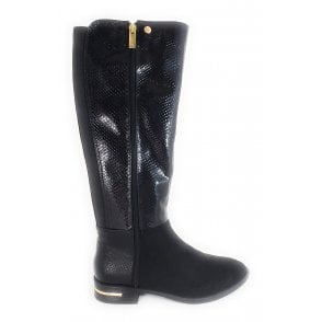 Glenda Black Knee High Boots