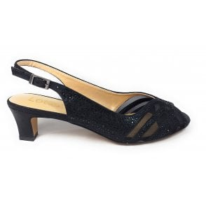 Glinda Black and Diamante Sling-Back Shoes