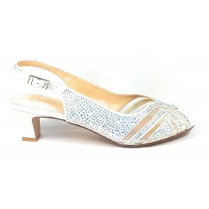 Glinda Ice and Diamante Sling-Back Shoes