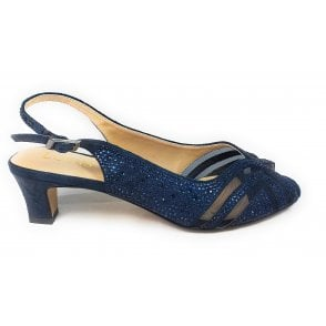 Glinda Navy and Diamante Sling-Back Shoes