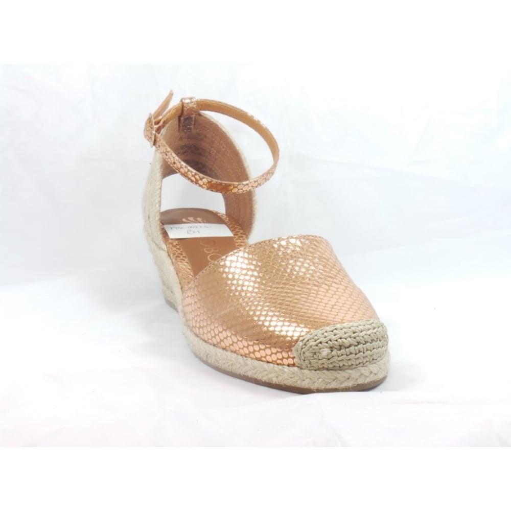 e533d2b27ef Verona Rose Gold Snakeprint Espadrille Wedge Sandal