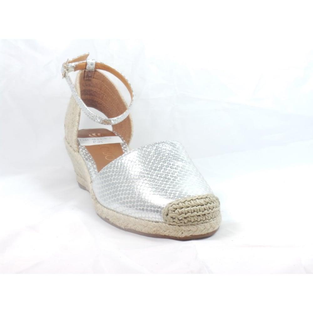 ce4432ca5c1 Verona Silver Snakeprint Espadrille Wedge Sandal