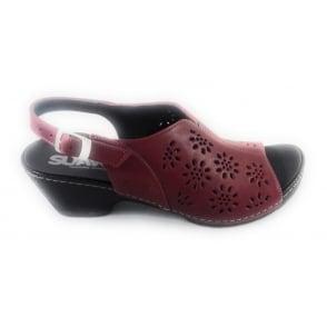 Gloria Red Leather Sandal