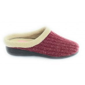 Glynis Wine Mule Slippers