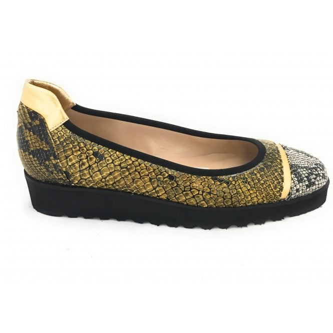 HB Gold and Black Reptile Print Leather Wedge Pump