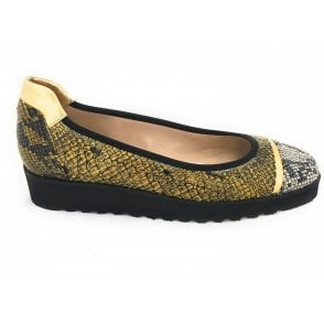 Gold and Black Reptile Print Leather Wedge Pump