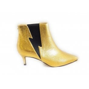 Gold Bauta Kitten Heel Sock-Boots