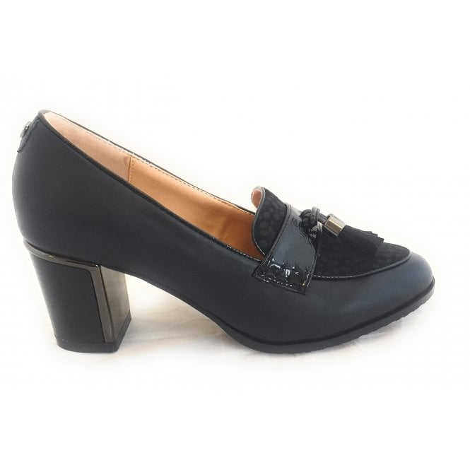 Lotus Goldie Black Faux Leather Court Shoe