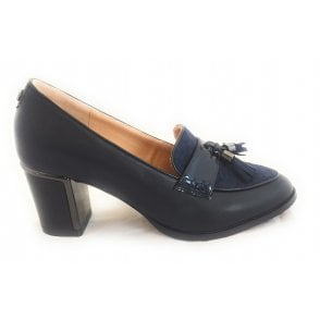 Goldie Navy Faux Leather Court Shoe