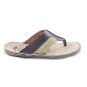 Green and Beige Leather Mens Casual Toe-Post Sandal