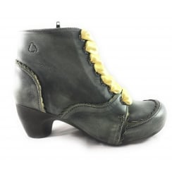 Green Antique Leather Lace-Up Ankle Boot