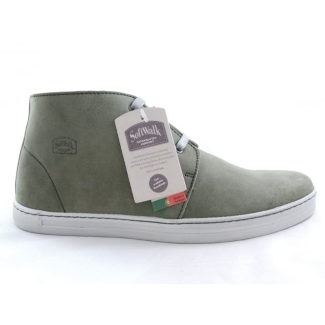 Softwalk Green Leather Lace-Up Casual Boot