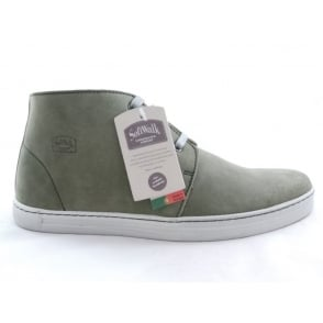 Green Leather Lace-Up Casual Boot