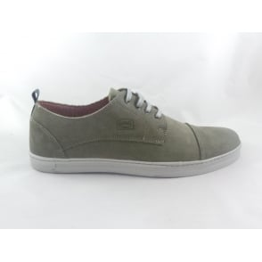 Green Leather Lace-Up Casual Shoe