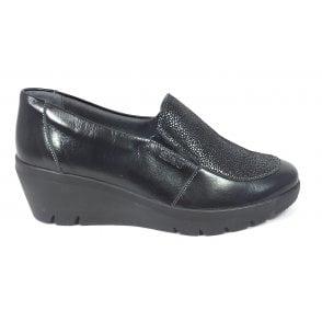 Greta Black Shimmer Leather Wedge Shoes