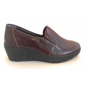 Greta Bugundy Shimmer Leather Wedge Shoes