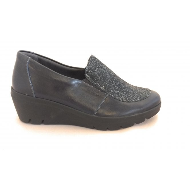 Suave Greta Navy Shimmer Leather Wedge Shoes