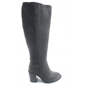 Grey Albury Suede Heeled Knee High Boots