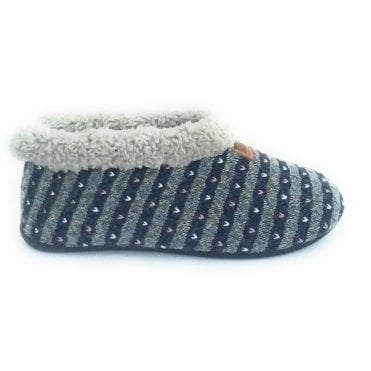 Grey and Navy Boot Slipper