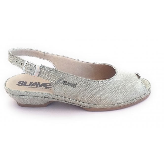 Suave Grey Leather Reptile Print Sling-Back Sandal