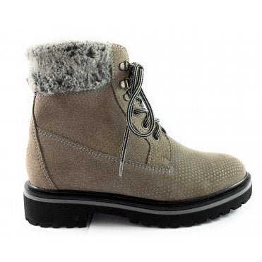 Grey Nubuck Lace-Up Casual Boot