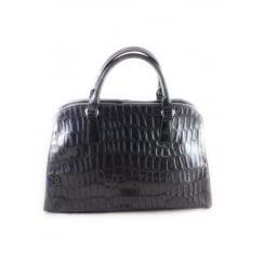 Grey Patent Croc Print Handbag