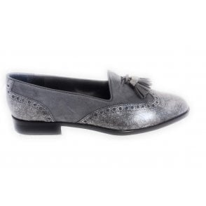 Grey Suede and Metallic Moccasin