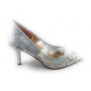 Groove Silver Mesh Court Shoe