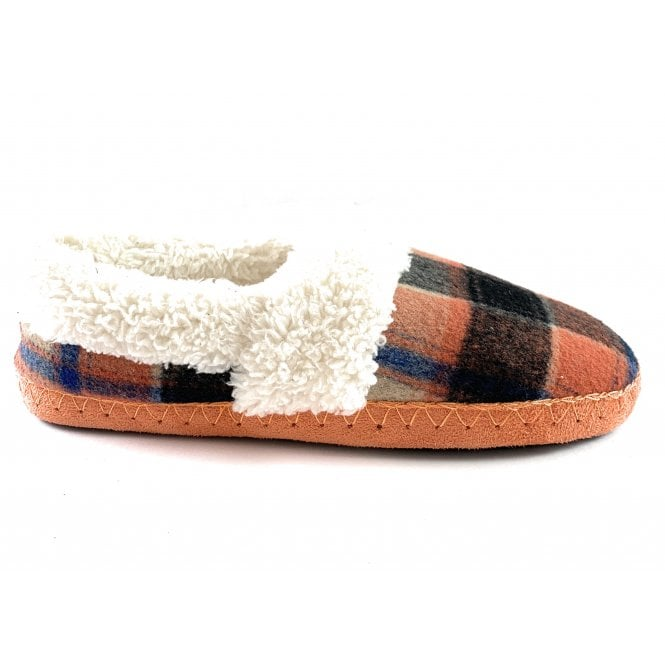 Lotus Gwyneth Orange Multi Check Felt Mule Slipper Size 4