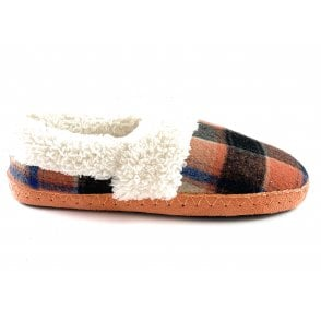 Gwyneth Orange Multi Check Felt Mule Slipper Size 4