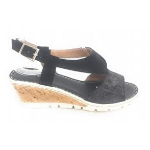 H043 Black Suede Wedge Sandal