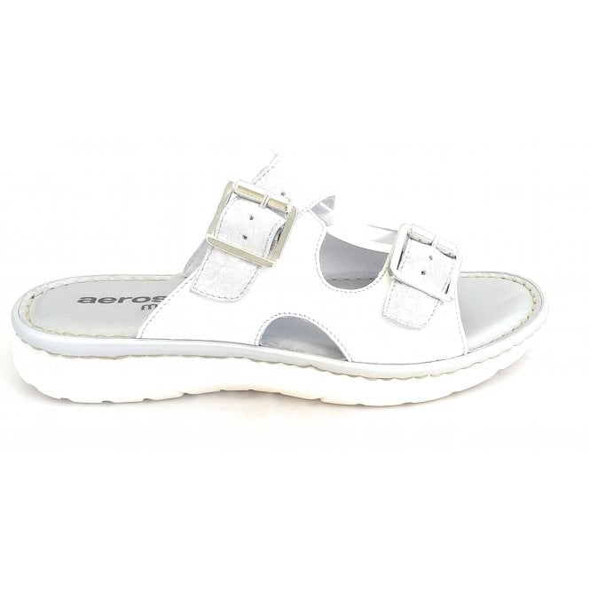 Aeros H251 White and Silver Leather Mule Sandal