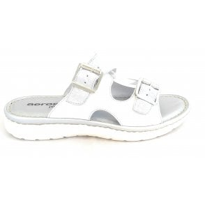 H251 White and Silver Leather Mule Sandal