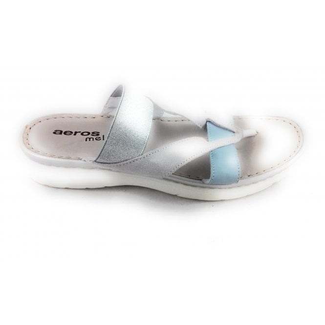 H524 Creta Pastel Blue and Grey Leather Toe-Post Sandal