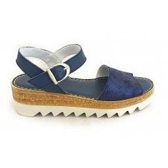 H562 Navy Leather Sandal