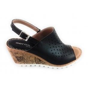 Aeros H684 Sharon Black Leather Wedge Sandal