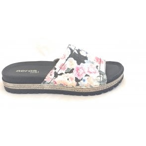 H821 Black Floral Leather Mule