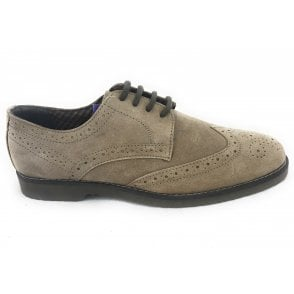 Hamill Beige Suede Lace-Up Mens Brogue