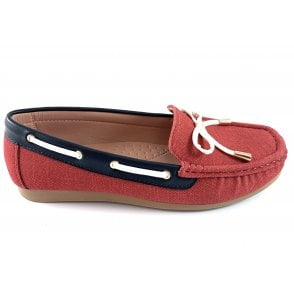 Hannah Red Canvas Deck Shoe