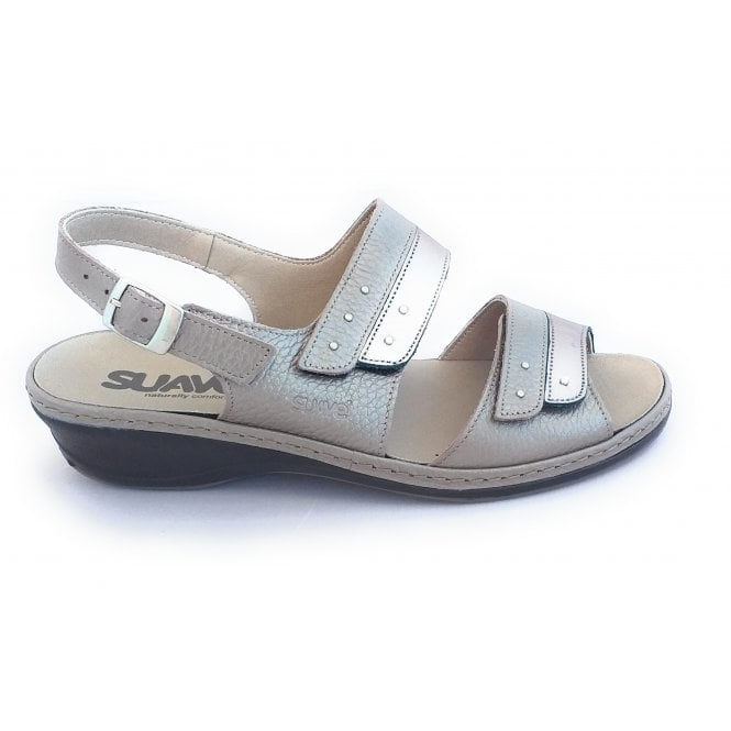Suave Hayley Taupe Leather Wide Fit Sandal