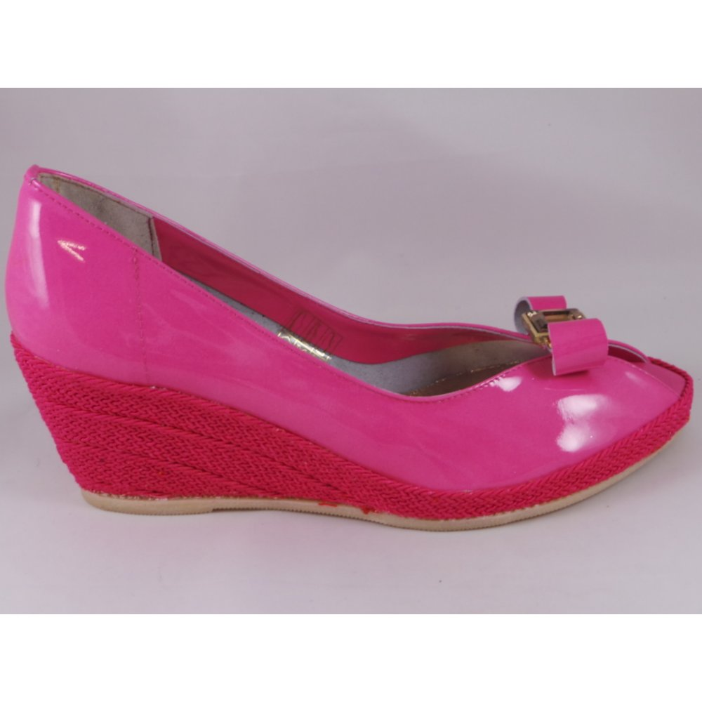 gloria pink patent leather peep toe wedge shoe from