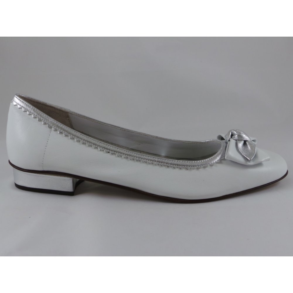 white and silver leather ballerina shoe from