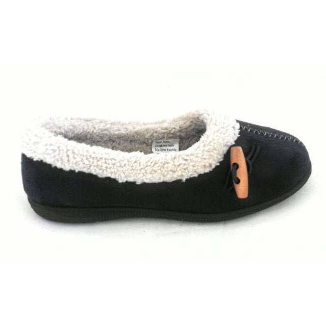 Lotus Heather Navy Ladies Slipper