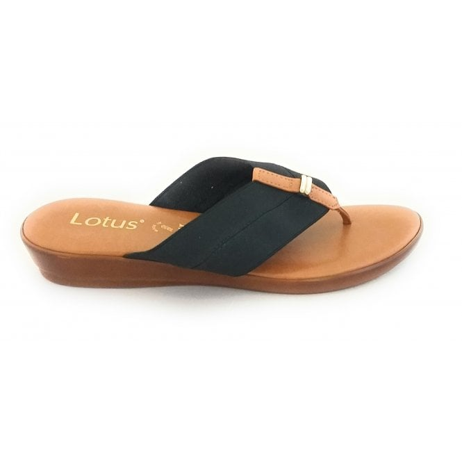Lotus Hera Black Toe-Post Sandal