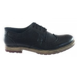 Heslington Black Leather Lace-Up Brogue