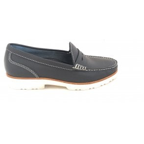 Hilton Navy Leather Loafers