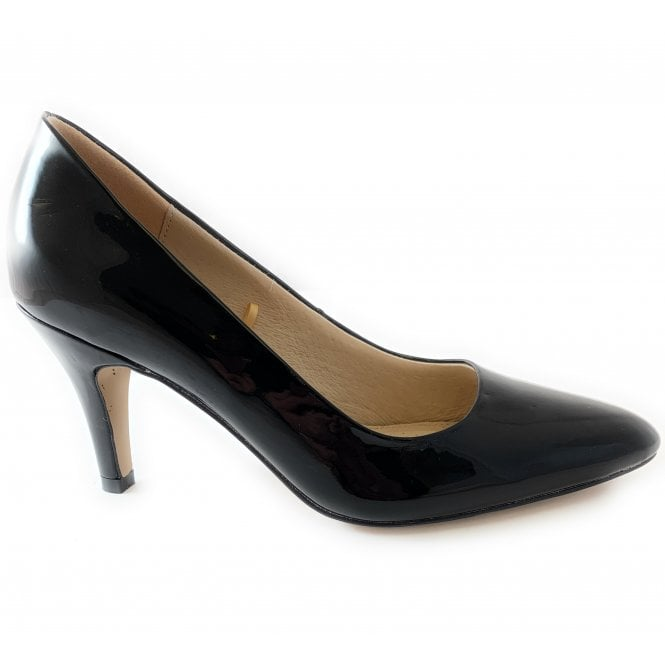 Lotus Holly Black Patent Court Shoe