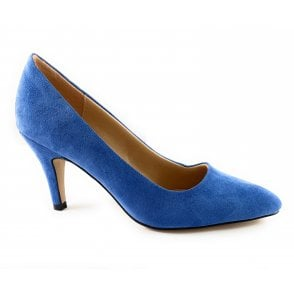 Holly Cornflower Blue Microfibre Court Shoe
